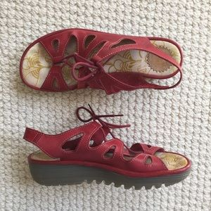 Fly London red leather lace-up sandals